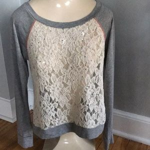 Jolt gray/lace & sequin lightweight sweat, small